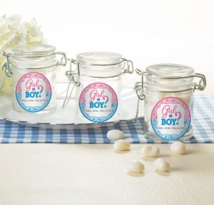 Personalized Baby Shower Glass Candy Jars (Printed Label) (Gender Reveal)