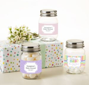 Personalized Baby Shower Mini Glass Mason Jars (Printed Label) (Baby Brights)