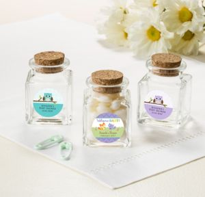 Personalized Baby Shower Small Glass Bottles with Corks (Printed Label) (Woodland)