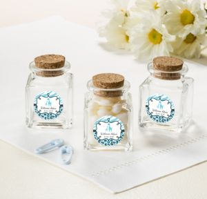 Personalized Baby Shower Small Glass Bottles with Corks (Printed Label) (Blue Safari)