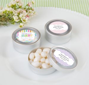 Personalized Baby Shower Round Candy Tins - Silver, Set of 12 (Printed Label) (Baby Brights)