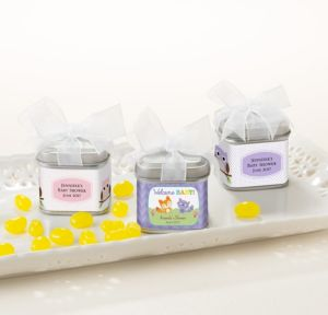 Personalized Baby Shower Wedding Favor Tins with Bows, Set of 12 (Printed Label) (Woodland)