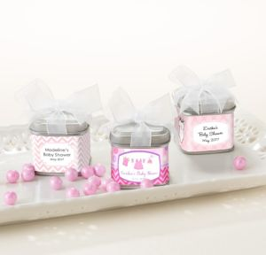 Personalized Baby Shower Wedding Favor Tins with Bows, Set of 12 (Printed Label) (Shower Love Girl)