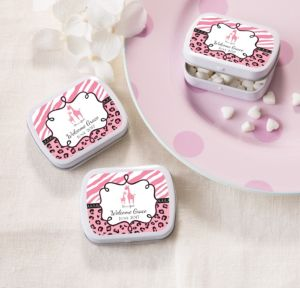 Personalized Baby Shower Mint Tins with Candy (Printed Label) (White, Pink Safari)