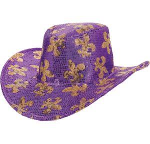 Sequin Mardi Gras Cowboy Hat