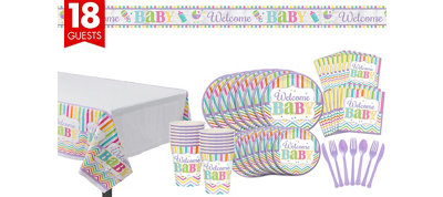 Welcome Baby Party Kit Bright Chevron Stripe 18 guests