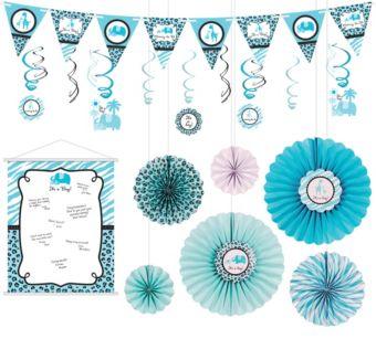Blue Safari Boy Decorations Shower Kit
