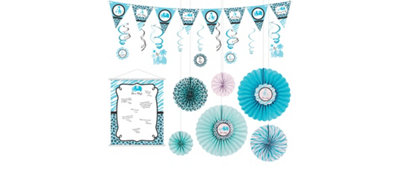 Blue Safari Boy Decorations Shower Kit
