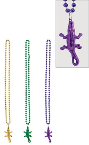 Alligator Mardi Gras Pendant Bead Necklaces 3ct