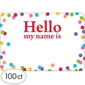 Rainbow Dots Border Hello Name Tags 100ct