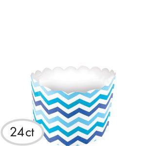 Blue Chevron Scalloped Bowls 24ct