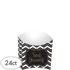 Black, Gold & Silver Chevron French Fry Boxes 24ct
