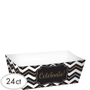 Black, Gold & Silver Chevron Paper Food Trays 24ct