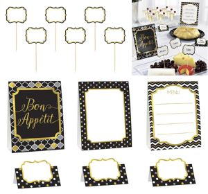 Black, Gold & Silver Buffet Decorating Kit 12pc