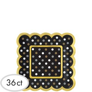 Black, Gold & Silver Polka Dot Scalloped Appetizer Plates 36ct
