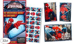 Spider-Man Valentine Exchange Cards with Tattoos 32ct