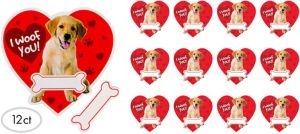 I Woof You Puppy Valentine Exchange Cards with Erasers 12ct