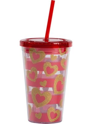 Gold Heart Valentine's Day Double Wall Tumbler with Straw