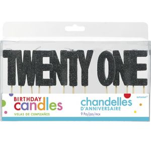Glitter Black Twenty-One Birthday Toothpick Candles 9ct