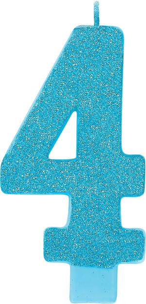 Giant Glitter Caribbean Blue Number 4 Birthday Candle