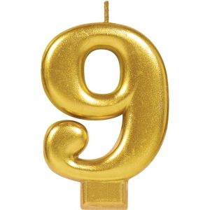 Gold Number 9 Birthday Candle