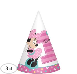 1st Birthday Minnie Mouse Party Hats 8ct