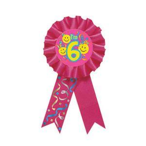 Smile 6th Birthday Award Ribbon
