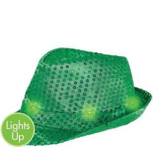 Light-Up Sequin Green Fedora