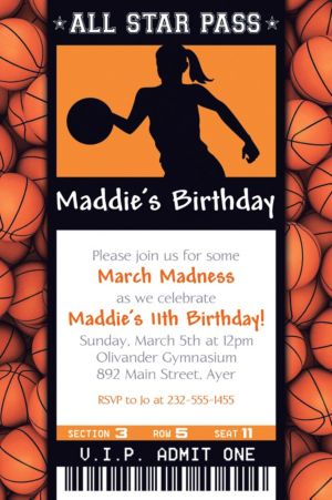 Custom Female Basketball Ticket Invitation