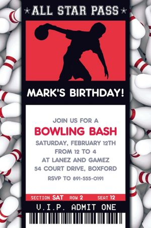 Custom Male Bowling Ticket Invitation