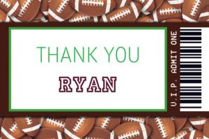 Custom Football Ticket Thank You Note