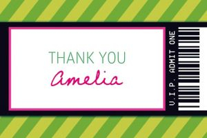 Custom Green Generic Ticket Thank You Note