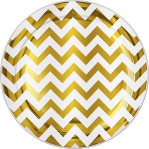 Gold Chevron Premium Plastic Dinner Plates 10ct