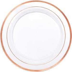 white rose gold trimmed premium plastic dinner plates 10ct