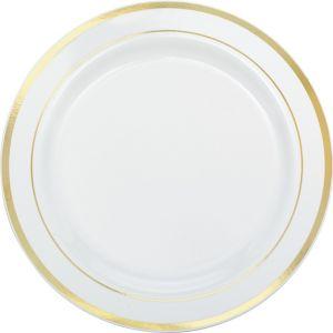White Gold Trimmed Premium Plastic Buffet Plates 10ct