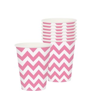 Bright Pink Chevron Paper Cups 8ct