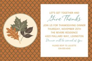Custom Copper Leaves Invitation