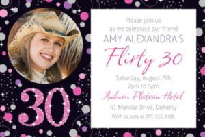 Custom Pink Sparkling Celebration 30 Photo Invitation