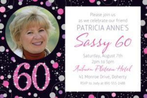 Custom Pink Sparkling Celebration 60 Photo Invitation