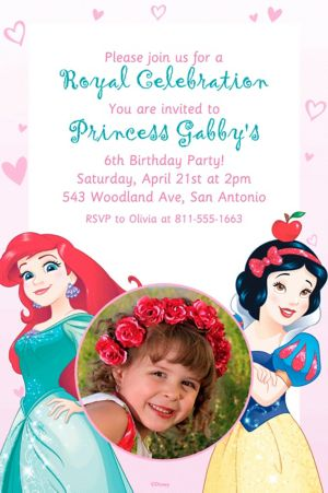 Custom Disney Princess Photo Invitation
