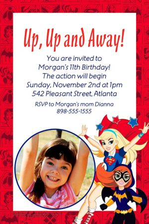 Custom DC Super Hero Girls Photo Invitation