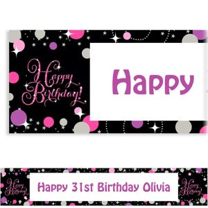 Custom Pink Sparkling Celebration Birthday Banner