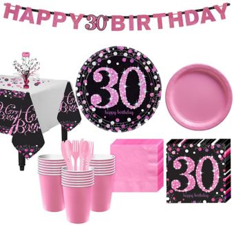 Pink Sparkling Celebration 30th Birthday Party Kit for 32 Guests