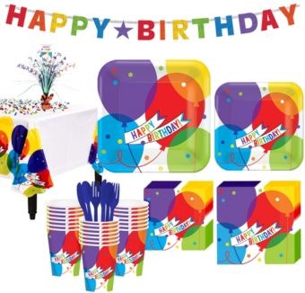 Balloon Bash Birthday Party Kit for 36 Guests
