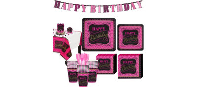 Fabulous Celebration Pink Chevron Birthday Party Kit for 32 Guests