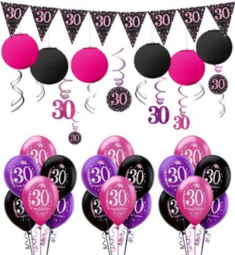 Pink Sparkling Celebration 30th Decorating Kit with Balloons
