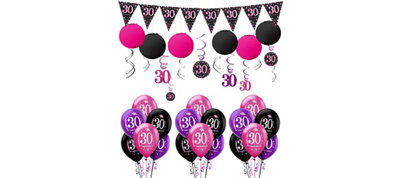 Pink Sparkling Celebration 30th Birthday Balloon Kit