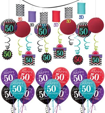 Celebrate 50th Birthday Decorating Kit with Balloons