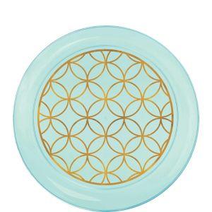 Metallic Geometric Robin's Egg Blue Plastic Dessert Plates 28ct