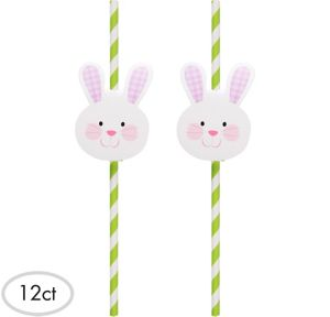 Easter Bunny Paper Straws 12ct